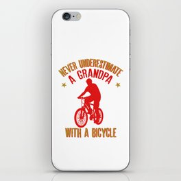 Mens Never Underestimate A Grandpa With A Bicycle Cool products iPhone Skin