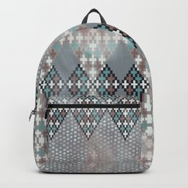 blurry diamond geo in pale teal and ochre Backpack