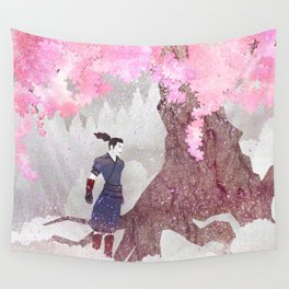 Tengami - Winter Cherry Tree (Portrait) Wall Tapestry