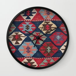 Red Band Diamond Kilim // 19th Century Colorful Brown Cream Peach Navy Blue Ornate Accent Pattern Wall Clock
