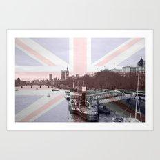London Skyline and Union Jack Flag  Art Print