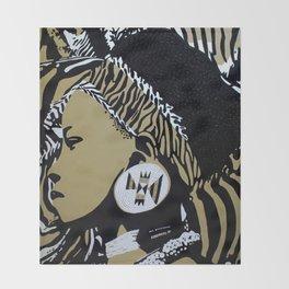Zulu girl with zebra print 3 Throw Blanket