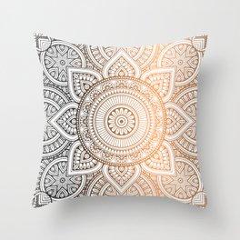 Gold Bronze Mandala Pattern Illustration Throw Pillow