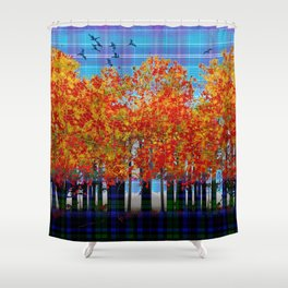 Fall Leaves On Plaid Shower Curtain