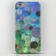Abstract blue& green glamour glitter circles and polka dots for ladies Slim Case iPhone 6s Plus