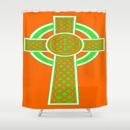 St Patrick's Day Celtic Cross Green and White Shower Curtain