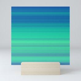 Blue Green Gradient Stripes Mini Art Print