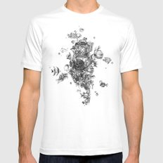 The Diver (Black and White Version) White MEDIUM Mens Fitted Tee