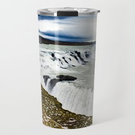 Clouds Over Gullfoss Waterfall in Iceland Travel Mug