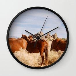 alabama hills horses Wall Clock