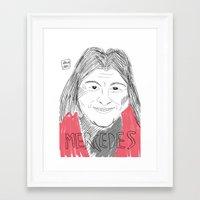 mercedes Framed Art Prints featuring MERCEDES SOSA by JJ Richards
