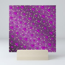 purple shiny stars and metal structure lilac sweet hearts Mini Art Print