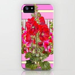 MODERN ART RED & PINK  HOLLYHOCKS BOTANICAL  PATTERNS iPhone Case