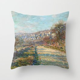 1880-Claude Monet-Road of La Roche-Guyon-60 x 73 Throw Pillow