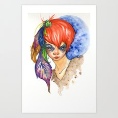 red head and feathers Art Print