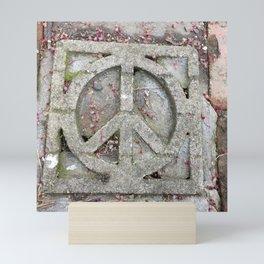 Peace sign on sidewalk in California Mini Art Print
