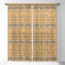 Mud cloth geometry Sheer Curtain