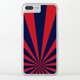 Retro dark blue and red sunburst style abstract background. Clear iPhone Case