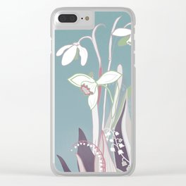 snowdrops & lily of the valley spring pattern drawing Clear iPhone Case