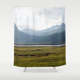 Misty Mountain Sunset Photography Print Shower Curtain