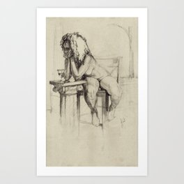 'The Unwinding' Charcoal Drawing Nude woman drinking Wine Art Print