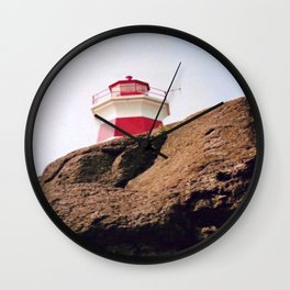 Lighthouse on Brier Island, Nova Scotia Wall Clock