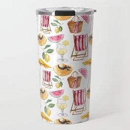 Summer pink yellow watercolor watermelon lemon nautical pattern Travel Mug