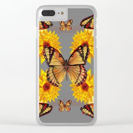 GREY ART BUTTERFLIES & YELLOW SUNFLOWERS NATURE Clear iPhone Case