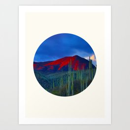Mid Century Modern Round Circle Photo Red Mountain Sunset With Field of Green Cactus Art Print