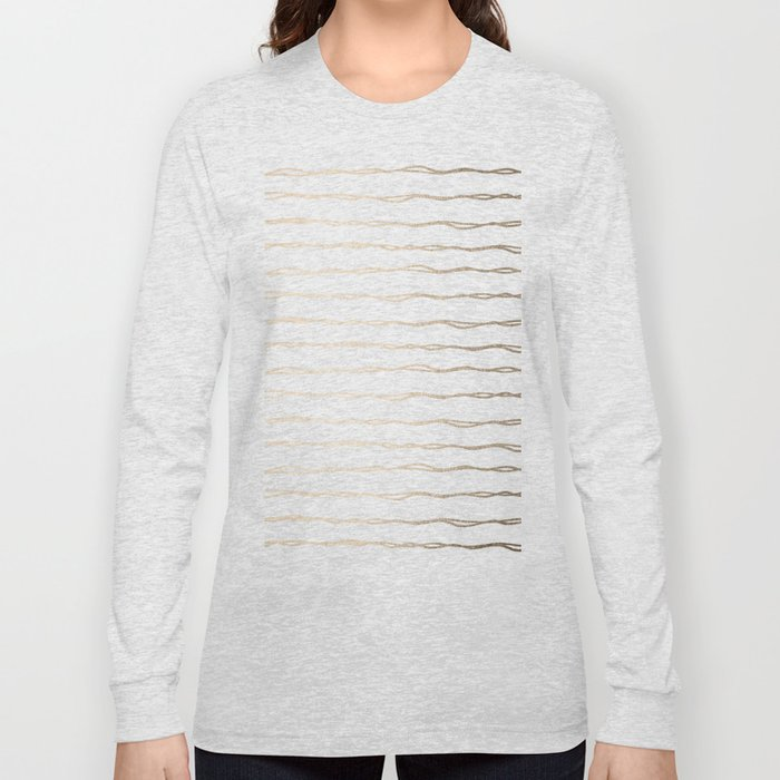 Simply Wavy Lines in White Gold Sands on White Long Sleeve T-shirt