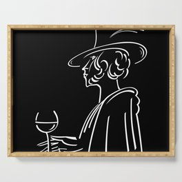 Abstract retro portrait of man Serving Tray