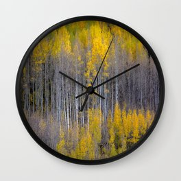 Autumn Aspens - Rows of Colorado Aspen Trees with Autumn Color in Reflection Illusion Wall Clock