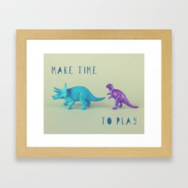 Make Time to Play - Blue and Purple Dino on Green Framed Art Print