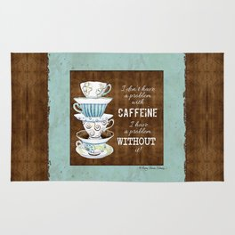 Deja Brew, Coffee Java Lovers Original Watercolor Art Collection Rug