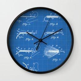 Fly Fishing Patent - Fisherman Art - Blueprint Wall Clock