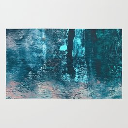 Wishes: an abstract mixed-media piece in blues, pink, and gold Rug