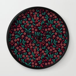 Floral pattern. Embroidery pattern. Wall Clock