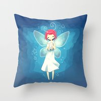 tooth Throw Pillows featuring Tooth Fairy by Freeminds