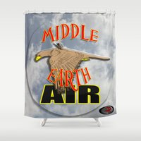 middle earth Shower Curtains featuring darrell merrill nerd artist: middle earth air by Nerd Artist DM