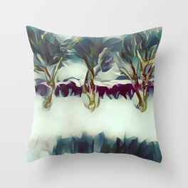 3 Winter Trees Deep Maroon Purple by CheyAnne Sexton Throw Pillow