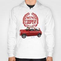 mini cooper Hoodies featuring Classic Mini Cooper by car2oonz