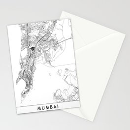 Mumbai White Map Stationery Cards