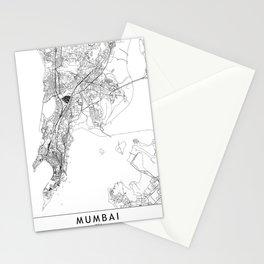 Mumbai White Map Stationery Cards