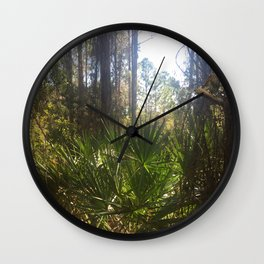 Owl in the Woods with Palms Wall Clock
