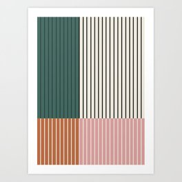 Color Block Line Abstract V Art Print