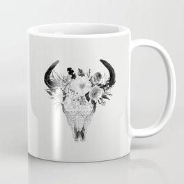 Monochrome Floral bohemian black and white watercolor animal stag head skull boho home wall decor Coffee Mug