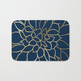 Floral Prints, Line Art, Navy Blue and Gold Bath Mat