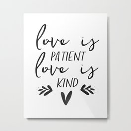 Framed Wood Sign -Love is Patient, rustic home decor, gallery wall, housewarming gift, framed decor Metal Print