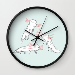 Three Little Axolotls Wall Clock