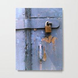 Padlock in blue Metal Print